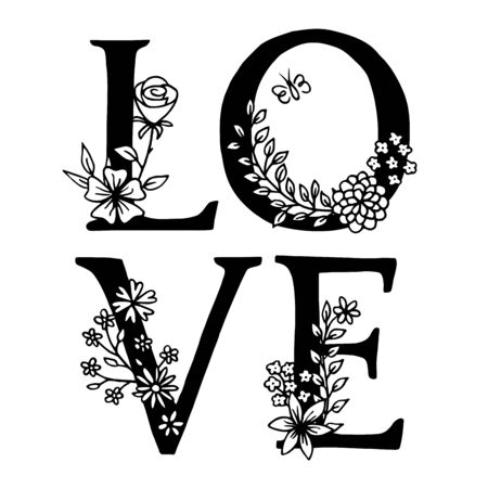 LOVE, hand drawn letters decorated with floral elements, black and white ink illustration Иллюстрация