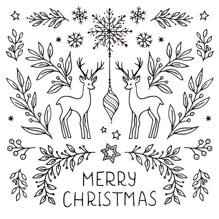 Simple hand drawn floral Christmas card template with plants, leaves, snowflakes and deer Ilustração