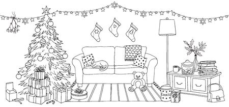 Hand drawn illustration of a living room with Christmas decoration, interior design with couch, cupboard, Christmas tree and gift boxes Ilustração