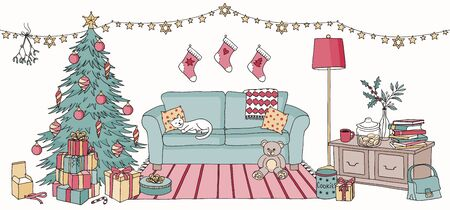 Hand drawn illustration of a living room with Christmas decoration, interior design with couch, cupboard, Christmas tree and gift boxes Çizim