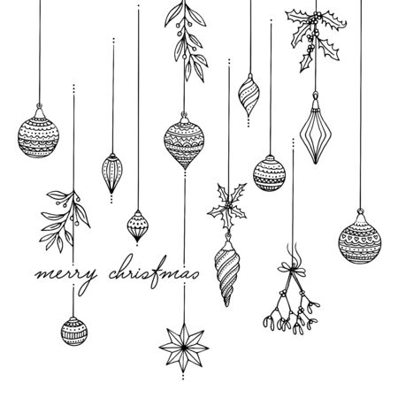 Decorazione dell'albero di Natale in bianco e nero disegnata a mano Vettoriali