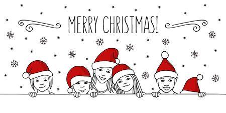 Merry Christmas! - Hand drawn ink illustration of diverse children with santa hats peeking behind a horizontal line Ilustração