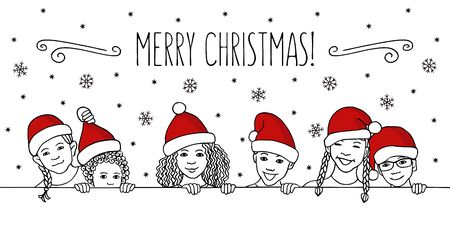 Merry Christmas! - Hand drawn ink illustration of diverse children with santa hats peeking behind a horizontal line Çizim