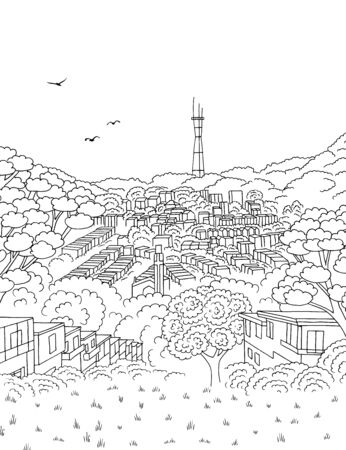 Hand drawn ink illustration of San Francisco's skyline from Merced Heights, with Sutro Tower in the background