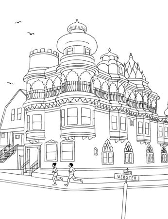 Hand drawn ink illustration of the Old Vedanta Temple at Cow Hollow, San Francisco  イラスト・ベクター素材