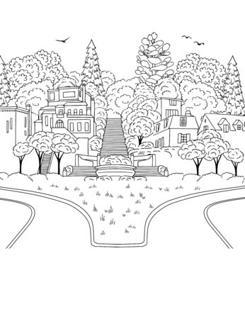 Hand drawn ink illustration of Forest Hill neighborhood in San Francisco, suburban houses on a hill with trees and roads Illustration
