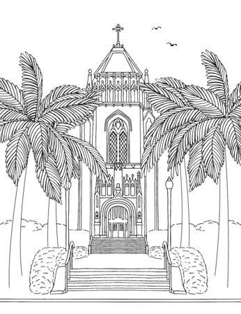 Handgetekende inktillustratie van de San Francisco University Lone Mountain Tower, Californië