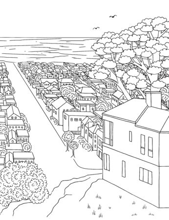 Hand drawn ink illustration of a house on a hillside overlooking the ocean, Inner Parkside, San Francisco
