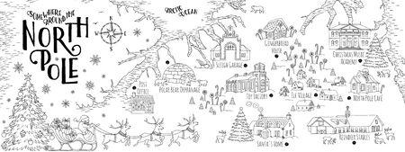 Mapa de fantasía del Polo Norte, Santa Claus, establos de renos, once pueblos, etc. - plantilla de tarjeta de felicitación de Navidad vintage Ilustración de vector