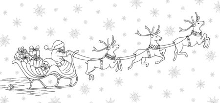 Hand drawn black and white illustration of santa claus riding his reindeer sleigh Çizim
