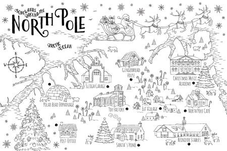 Fantasy map of the North Pole, showing the home and toy factory of Santa Claus, reindeer stables, elf village etc. - vintage Christmas greeting card template Illustration