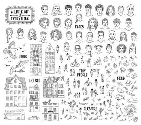 Collection of various hand drawn items, like faces, houses, tiny people, food, and floral elements. Black and white line art Çizim