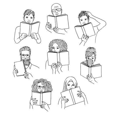 Hand drawn isolated diverse people reading books, black and white line drawing