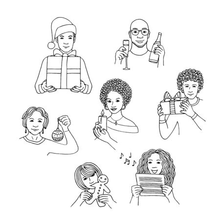 Hand drawn isolated people celebrating Christmas, holding gifts, candles and decorative items. Black and white line drawing