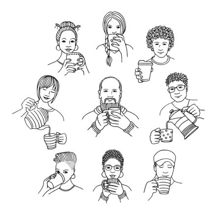 Hand drawn isolated people holding coffee and drinking tea, black and white line drawing