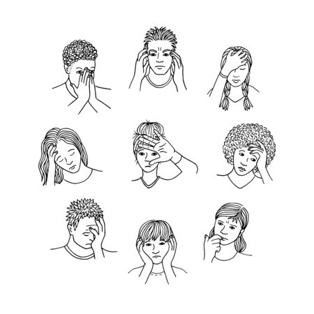 Hand drawn isolated people with sad, depressed and anxious facial expressions, black and white line drawing