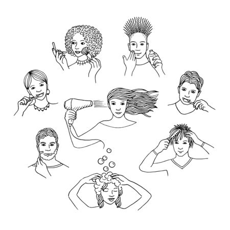 Hand drawn isolated people during their morning routine, like showering, toothbrushing, combing, shaving, putting on makeup, etc. Black and white line drawings