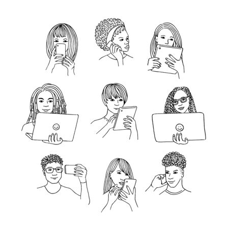 Hand drawn isolated people using smartphone, tablet or laptop, black and white line drawing