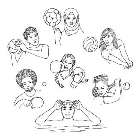 Hand isolated isolated people playing individual sport (boxing, swimming) as well as sports team (football, volleyball, tennis, basketball). Black and white line drawings