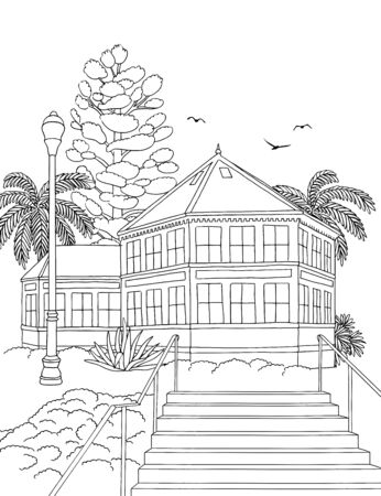 Hand drawn ink illustration of Sunnyside Conservatory, San Francisco 版權商用圖片 - 134877658