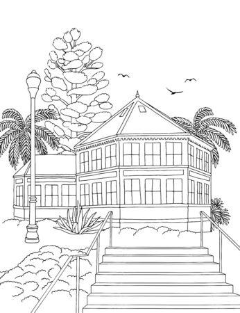 Handgetekende inktillustratie van Sunnyside Conservatory, San Francisco