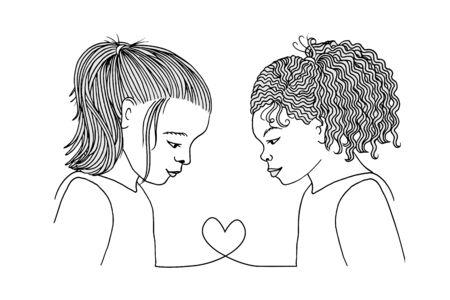 Best friends forever - two little hand drawn school girls connected heart to heart Иллюстрация