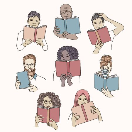 Hand drawn isolated diverse people reading books Иллюстрация