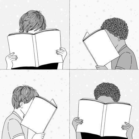 Hand drawn illustrations of children reading, hiding their faces behind their books - empty books to add your own text Иллюстрация