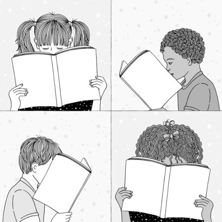 Hand drawn illustrations of children reading, hiding their faces behind their books - empty books to add your own text Ilustração