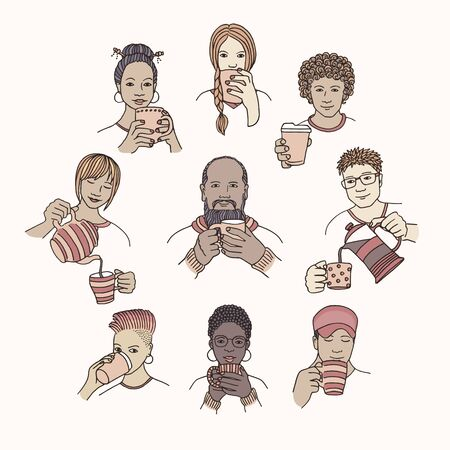 Hand drawn isolated people holding and enjoying hot coffee or tea Ilustração