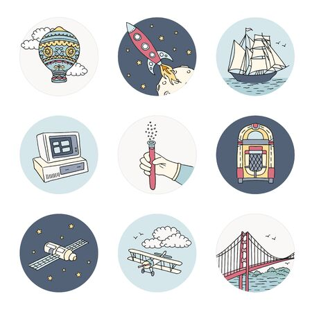 Hand drawn icons representing different human inventions - different forms of transportation, space science, chemistry, construction and the first juke box