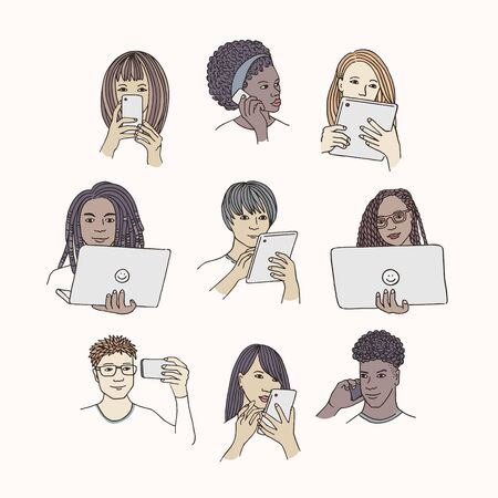 Hand drawn isolated people with smartphone, tablet or laptop
