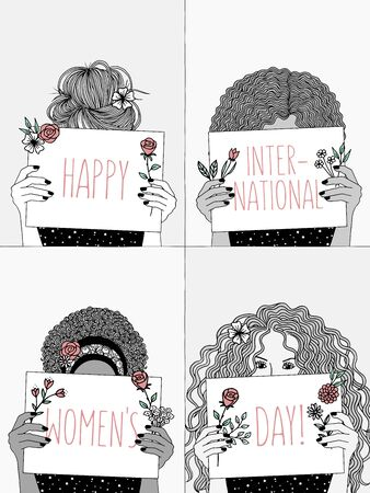 Happy International Women's Day! - Hand drawn black and white illustration of four young women holding signs with pink letters
