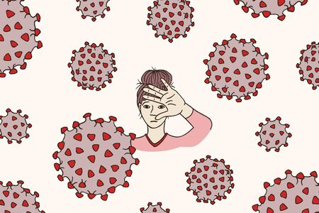 Hand drawn illustration of a young woman feeling threatened by the corona virus