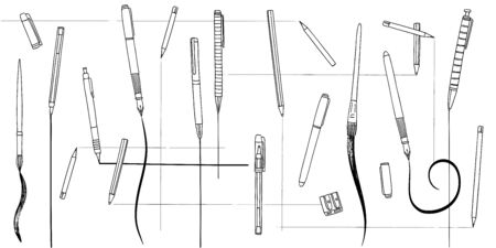 Hand drawn collection of pens, pencils and paintbrushes, web banner Ilustração