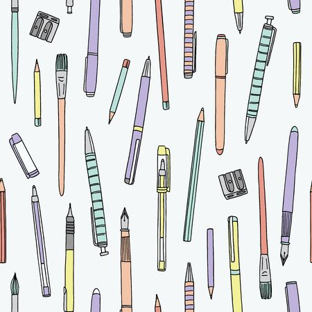 Hand drawn collection of pens, pencils and paintbrushes, seamless pattern