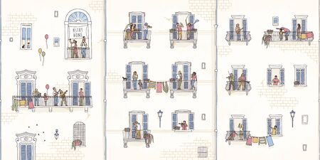 Illustration of tiny people at home in quarantine, making music from their balconies, coronavirus pandemic 2020 Иллюстрация