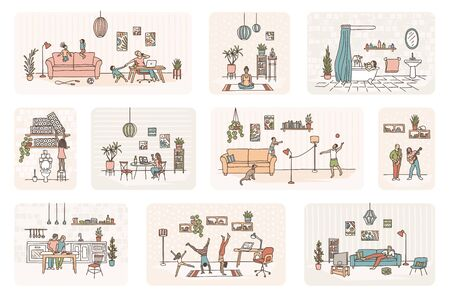 Illustration of tiny people in self isolation, various activities to do at home, like meditation, cooking, home office, exercising etc. - Coronavirus pandemic 2020