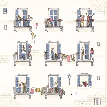 Illustration of tiny people at home, making music from their balconies