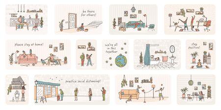 Illustration of tiny people in quarantine