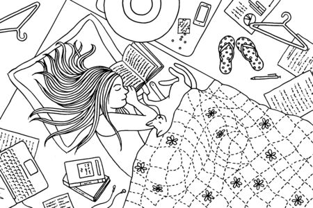 Hand drawn illustration of a young woman who fell asleep while reading a book, her cat snoozing next to her