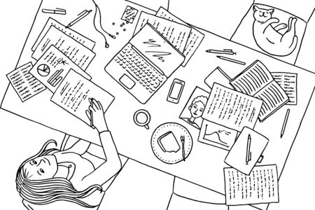 Hand drawn illustration of a young woman working at home at her desk
