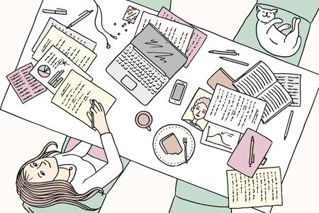 Top view illustration of a young woman working at home at her desk