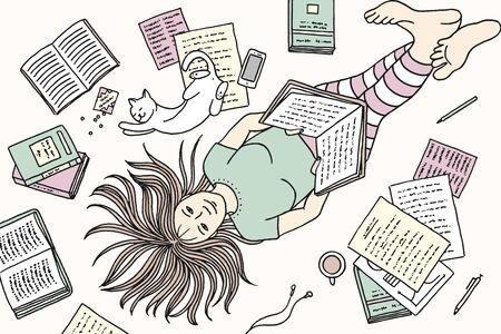 Top view illustration of a young woman lying on the floor with her cat, reading a book