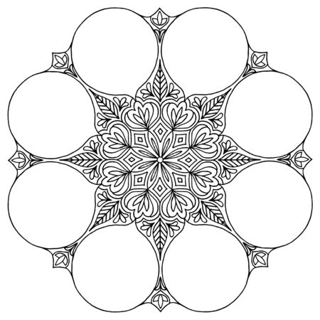 Hand drawn mandala with empty space for icons, photos or text