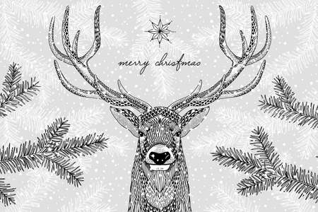 Black and white illustration of a cute reindeer in winter - Hand drawn Christmas card template - Merry Christmas Иллюстрация