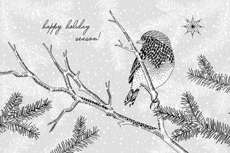 Black and white illustration of a cute robin in winter - Hand drawn Christmas card template - Happy Holiday Season