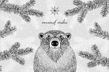 Black and white illustration of a cute furry bear in winter - Hand drawn Christmas card template - Warmest Wishes Ilustração