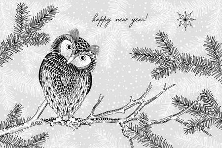Black and white illustration of a cute owl in winter - Hand drawn Christmas card template - Happy New Year Иллюстрация
