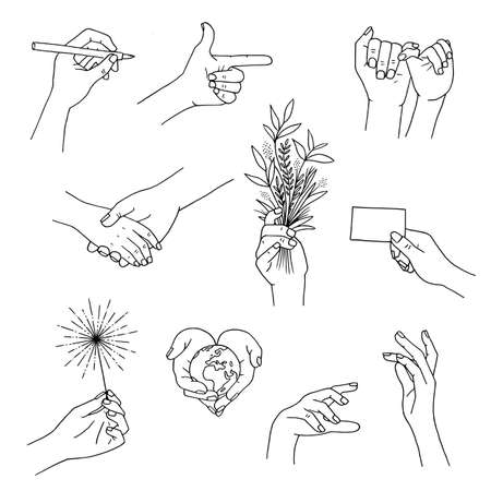 Outline drawings of hands moving and holding different items Ilustração